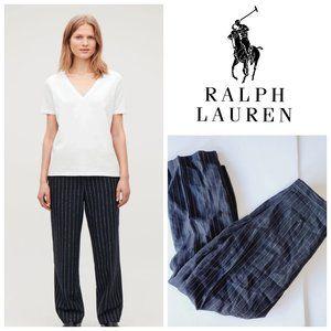 RALPH LAUREN 100% Linen High Rise Pinstriped Pants